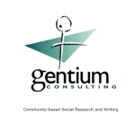 "The logo of Gentium Consulting, ""Community-based Social Research and Writing."""