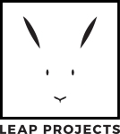 The logo of Leap Projects, showing the face of a rabbit.
